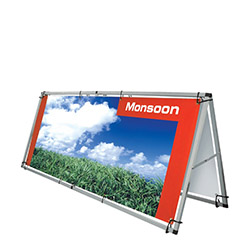 Monsoon outdoor banner stand frame and banner