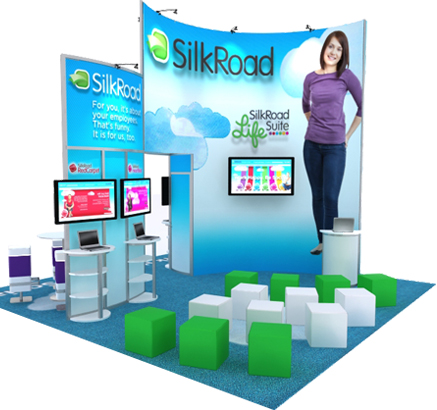 20X20 LARGE TRADE SHOW DISPLAY RENTAL IN BLUE AND GREEN